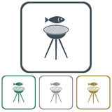 Grilled fish icon Royalty Free Stock Image
