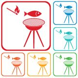 Grilled fish icon Stock Images
