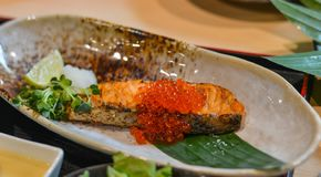 Grilled fish in Japanese meal royalty free stock photo