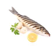 Grilled fish with lemon and mushrooms. Stock Photo