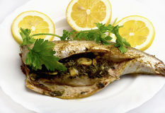 Grilled Fish with Lemon Royalty Free Stock Photo