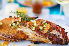 Grilled fish lunch Royalty Free Stock Photo