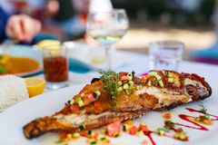 Grilled fish lunch Royalty Free Stock Photography