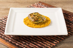 Grilled fish with manioc flour Stock Photography