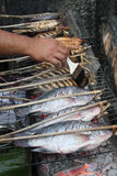 Grilled fish in a market in laos Stock Photos