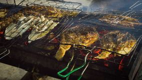 Grilled fish on fish market traditional street food in indonesia. Karimun jawa stock photos