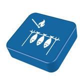Grilled fish and match icon. Vector illustration Royalty Free Stock Photography