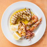 Grilled fish mix Stock Images