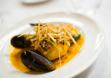 Grilled fish with mussels Royalty Free Stock Image