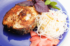 Grilled fish and noodles Stock Photos