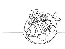 Grilled fish on plate with lemon and potato. Continuous line drawing. Grilled fish on plate with lemon and potato. Vector illustration black line on white Stock Photo