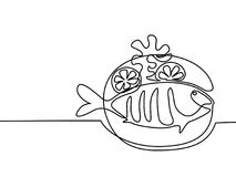Grilled fish on plate with lemon and potato. Continuous line drawing. Grilled fish on plate with lemon and potato. Vector illustration black line on white Stock Photography
