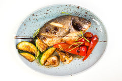 Grilled fish on plate. With grilled vegetables isolated on white Stock Images