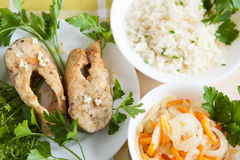 Grilled fish with rice and vegetables Stock Photography