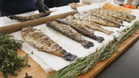 Grilled fish with rosemary. A lot cooked fish with greens on the table at the food festival. Delicious salmon cooked on. Barbecue. Man in gloves taking fish stock footage