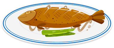 Grilled fish on round plate. Illustration Stock Photography