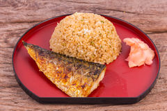 Grilled fish saba with fried rice Stock Photos