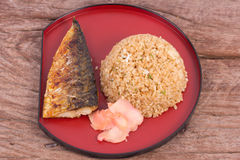 Grilled fish saba with fried rice Royalty Free Stock Photo