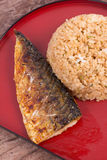 Grilled fish saba with fried rice Stock Images