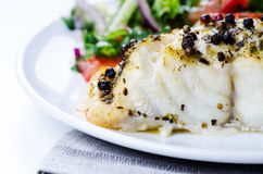 Grilled fish with salad Royalty Free Stock Images