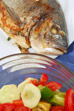 Grilled fish with salad. Royalty Free Stock Image