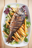 Grilled fish with salad and french fries Stock Image