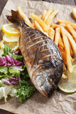 Grilled fish with salad and frensh fries Stock Photo
