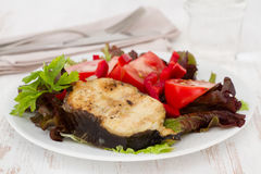 Grilled fish with salad on the plate Stock Photos