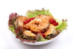 Grilled fish with salad and rowan Royalty Free Stock Images