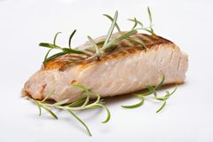 Grilled fish, salmon steak. Closeup Stock Photos