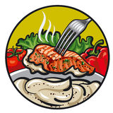 Grilled fish with sauce. Illustration of the grilled fish with sauce Stock Photography