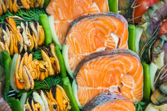 Grilled fish and seafood in buffet Stock Photos
