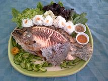 Grilled Fish. With a side of salt Stock Photos