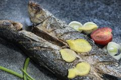 Grilled fish with spices, vegetables and herbs on slate background ready for eating. Grilled fish with spices, vegetables and herbs on slate background ready stock photos