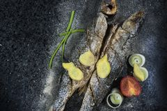 Grilled fish with spices, vegetables and herbs on slate background ready for eating. Grilled fish with spices, vegetables and herbs on slate background ready royalty free stock photo