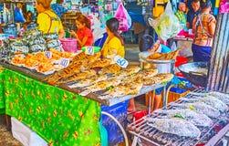 The grilled fish stall, Talad Saphan Phut market, Bangkok, Thailand