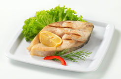 Grilled fish steak Royalty Free Stock Photography
