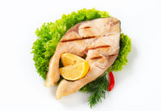 Grilled fish steak Stock Images