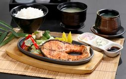 Grilled Fish Steak, Rice Set Japanese food stock photo