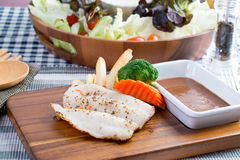 Grilled fish steak. Set with Cesar Salad Stock Images