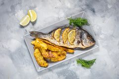 Grilled fish on stone plate with lemon on concrete background. Top view royalty free stock image