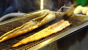 Grilled fish stock footage