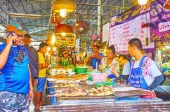 The grilled fish in Talad Saphan Phut market, Bangkok, Thailand