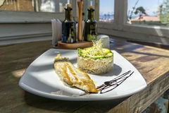 Grilled fish tarte Stock Images