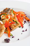Grilled Fish with Vegetable Royalty Free Stock Photography