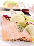Grilled fish and vegetable Stock Photo