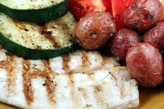 Grilled Fish and Vegetables Stock Photo