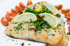 Grilled fish with vegetables and cream sauce. On white plate Stock Photography