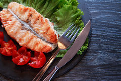 Grilled Fish And Vegetables Stock Image