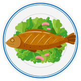 Grilled fish and vegetables on plate. Illustration Stock Images